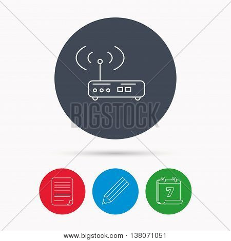 Wi-fi router icon. Wifi wireless internet sign. Device with antenna symbol. Calendar, pencil or edit and document file signs. Vector
