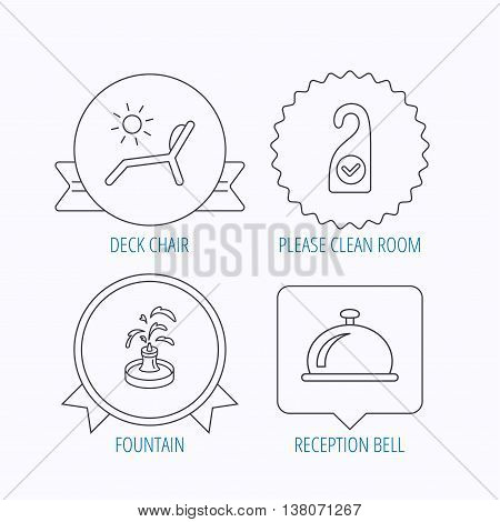 Reception bell, fountain and beach deck chair icons. Clean room linear sign. Award medal, star label and speech bubble designs. Vector