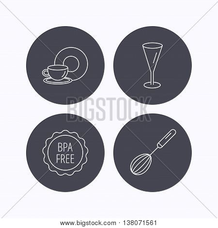 Food and drink, glass and whisk icons. BPA free linear sign. Flat icons in circle buttons on white background. Vector