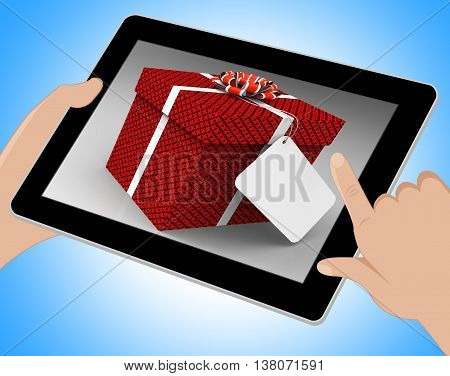 Gift Tag Represents Blank Space And Copy Tablet