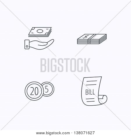 Save money, cash money and bill icons. Coins linear sign. Flat linear icons on white background. Vector