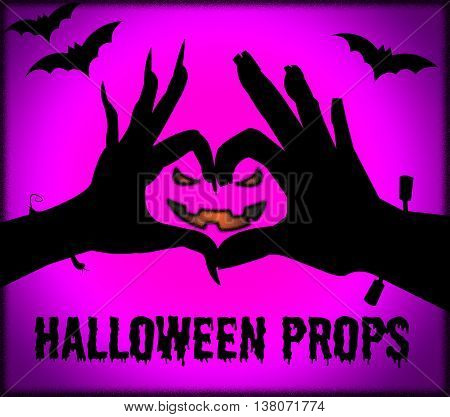 Halloween Props Indicates Trick Or Treat And Accessories