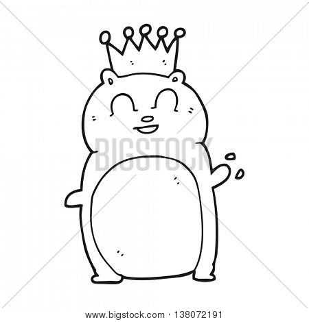 freehand drawn black and white cartoon waving hamster