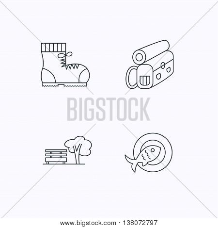 Park, backpack and hiking boots icons. Fish dish linear sign. Flat linear icons on white background. Vector
