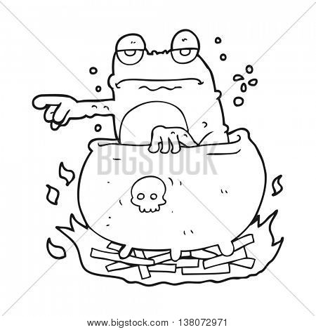 freehand drawn black and white cartoon halloween toad