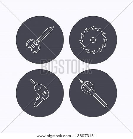 Scissors, drill and repair tools icons. Circular saw and brush linear signs. Flat icons in circle buttons on white background. Vector