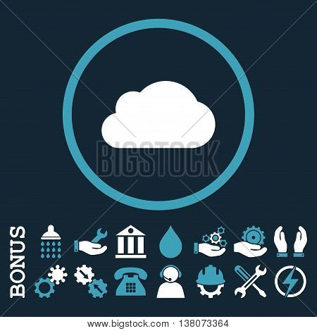Cloud vector bicolor icon. Image style is a flat pictogram symbol inside a circle, blue and white colors, dark blue background. Bonus images are included.