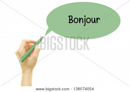 Woman hand writing French Bonjour (hello) word with a marker isolated on white.