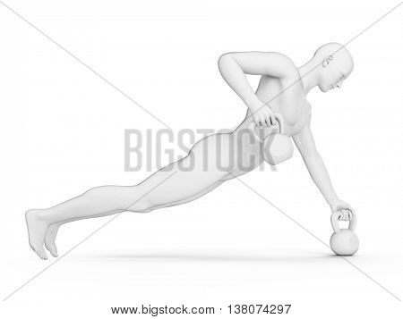 3d rendered illustration of a guy doing a kettle bell workout