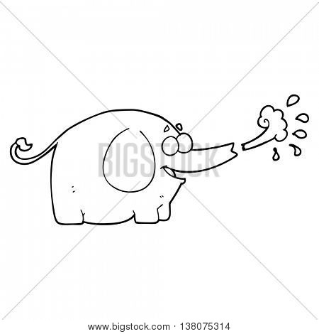 freehand drawn black and white cartoon elephant squirting water