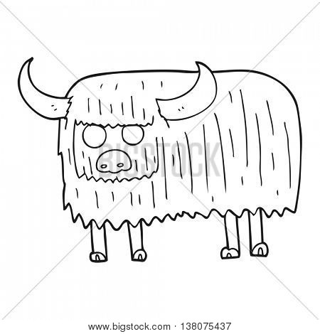 freehand drawn black and white cartoon hairy cow