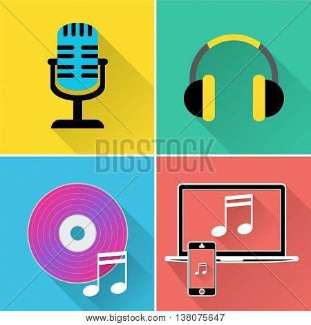 Music Icons Represents Symbol Melody And Track