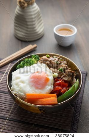 japanese chicken teriyaki with rice and vegetables