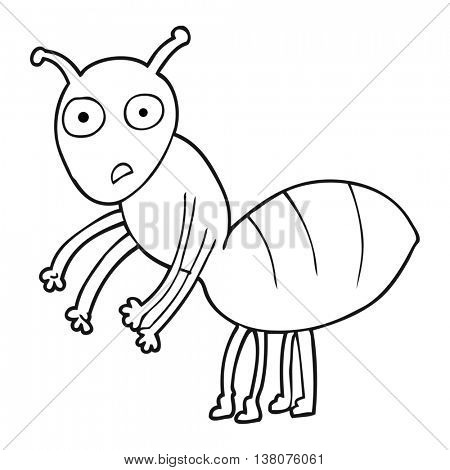 freehand drawn black and white cartoon ant
