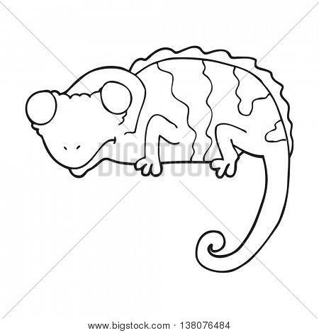 freehand drawn black and white cartoon chameleon