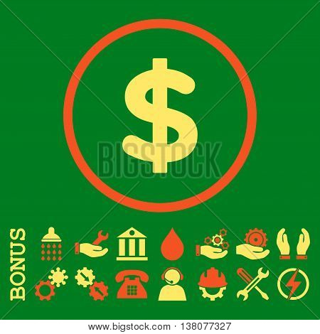 Dollar vector bicolor icon. Image style is a flat pictogram symbol inside a circle, orange and yellow colors, green background. Bonus images are included.