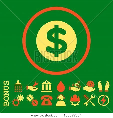 Finance vector bicolor icon. Image style is a flat pictogram symbol inside a circle, orange and yellow colors, green background. Bonus images are included.