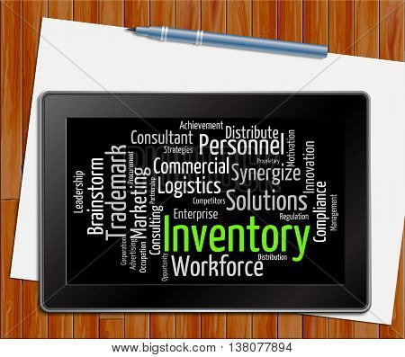 Inventory Word Means Stocks Inventories And Stock Tablet