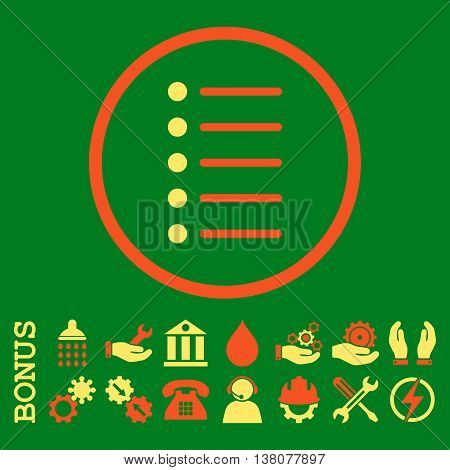 Items vector bicolor icon. Image style is a flat pictogram symbol inside a circle, orange and yellow colors, green background. Bonus images are included.