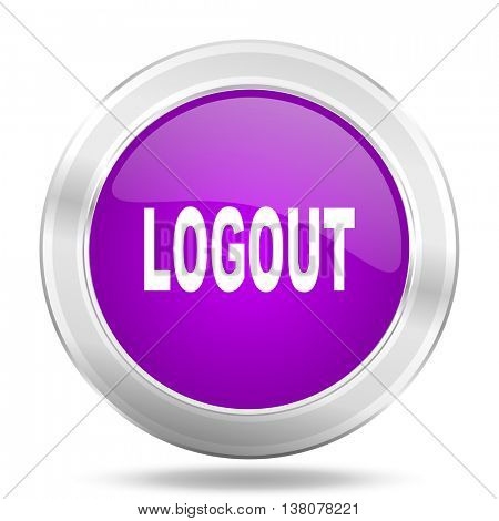 logout round glossy pink silver metallic icon, modern design web element