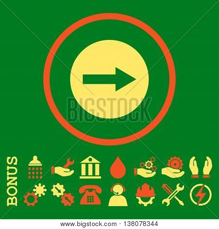 Right Rounded Arrow vector bicolor icon. Image style is a flat pictogram symbol inside a circle, orange and yellow colors, green background. Bonus images are included.