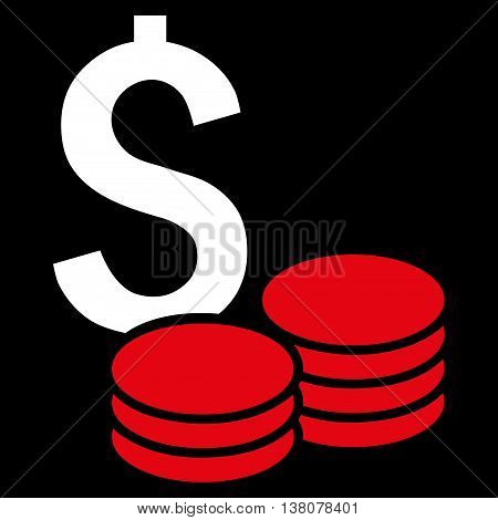 Dollar Cash vector icon. Style is bicolor flat symbol, red and white colors, black background.