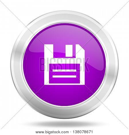 disk round glossy pink silver metallic icon, modern design web element