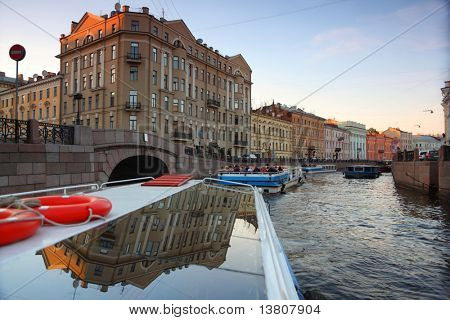View of St. Petersburg. River channel with boats in Saint-Petersburg