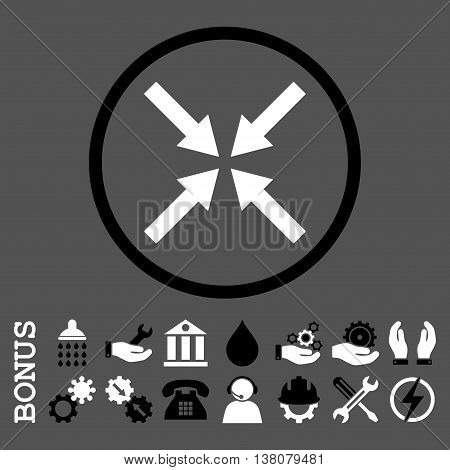 Center Arrows vector bicolor icon. Image style is a flat pictogram symbol inside a circle, black and white colors, gray background. Bonus images are included.