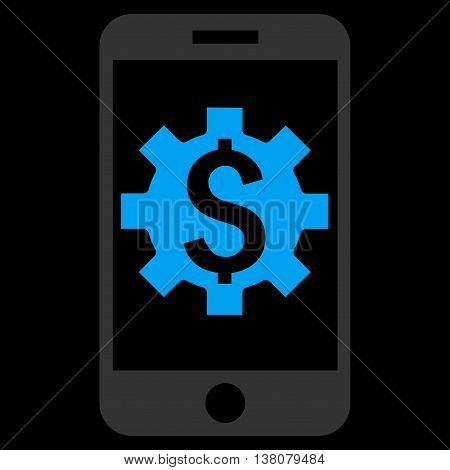 Mobile Bank Setup vector icon. Style is flat symbol, blue color, black background.