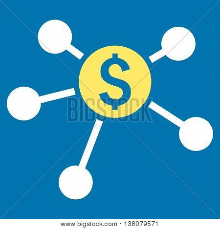 Bank Branches vector icon. Style is bicolor flat symbol, yellow and white colors, blue background.