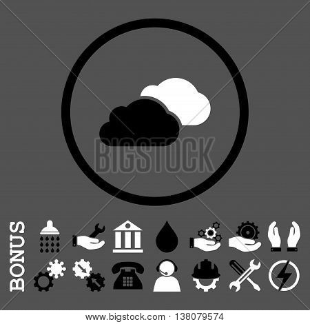 Clouds vector bicolor icon. Image style is a flat pictogram symbol inside a circle, black and white colors, gray background. Bonus images are included.