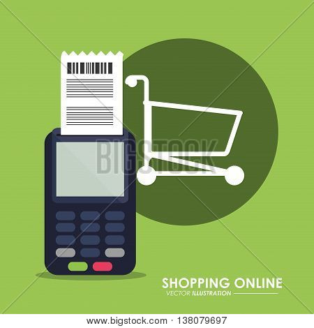 Shopping online concept represented by dataphone and shopping cart icon. Colorfull and flat illustration.