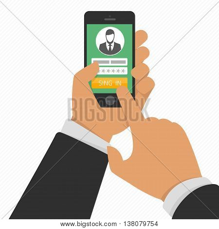 Vector illustration sign in page on smartphone screen. Hand hold smartphone, finger touch sign in button. Mobile account creative flat design vector illustration. Login form on phone screen.