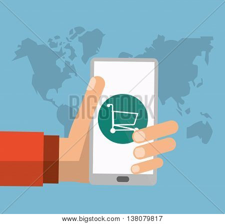 Shopping online concept represented by smartphone, earth and shopping cart icon. Colorfull and flat illustration.