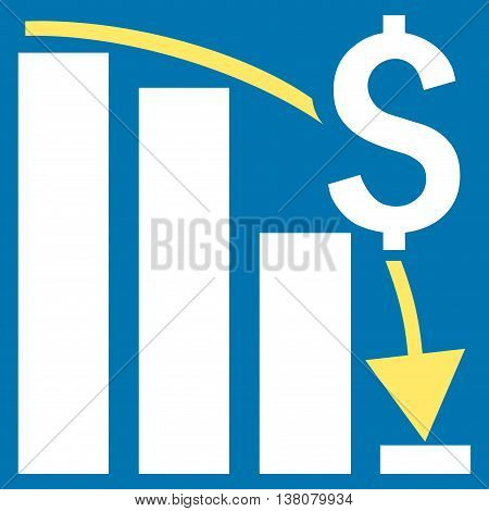 Financial Crisis vector icon. Style is bicolor flat symbol, yellow and white colors, blue background.
