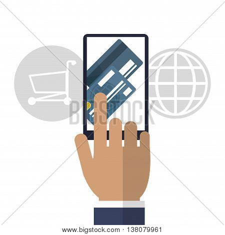 Shopping online concept represented by smartphone, global, credit card and shopping cart icon. Colorfull and flat illustration.