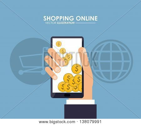 Shopping online concept represented by smartphone, coins and shopping cart icon. Colorfull and flat illustration.