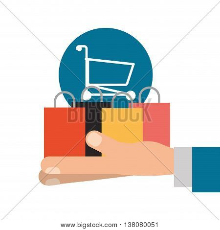 Shopping online concept represented by smartphone, shopping cart and bag icon. Colorfull and flat illustration.