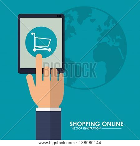 Shopping online concept represented by tablet, earth and shopping cart icon. Colorfull and flat illustration.
