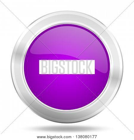 minus round glossy pink silver metallic icon, modern design web element