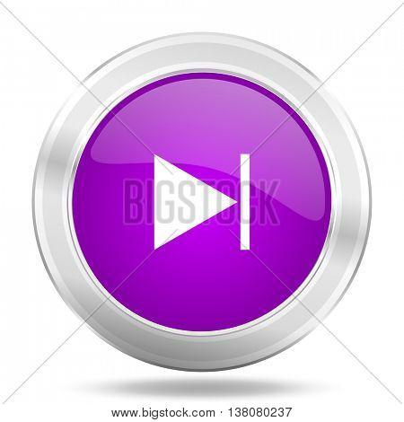 next round glossy pink silver metallic icon, modern design web element
