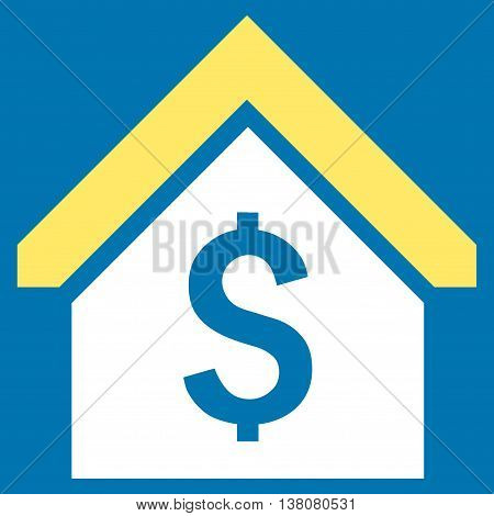 Loan Mortgage vector icon. Style is bicolor flat symbol, yellow and white colors, blue background.