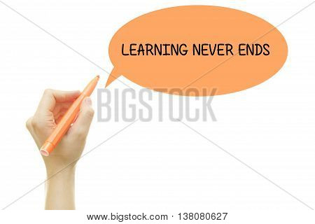 Woman hand writing LEARNING NEVER ENDS with a marker isolated on white.