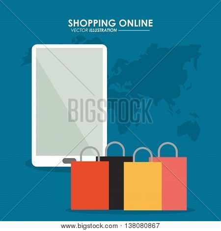 Shopping online concept represented by smartphone, earth and shopping bag icon. Colorfull and flat illustration.
