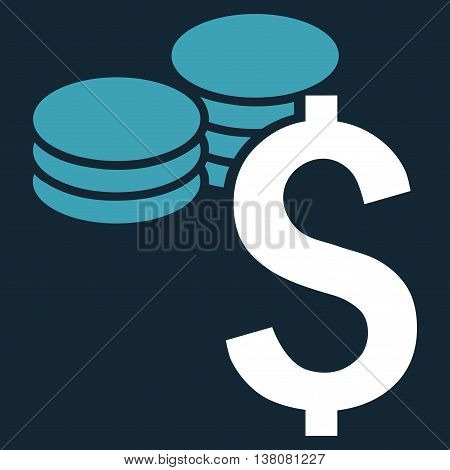 Dollar Coins vector icon. Style is bicolor flat symbol, blue and white colors, dark blue background.