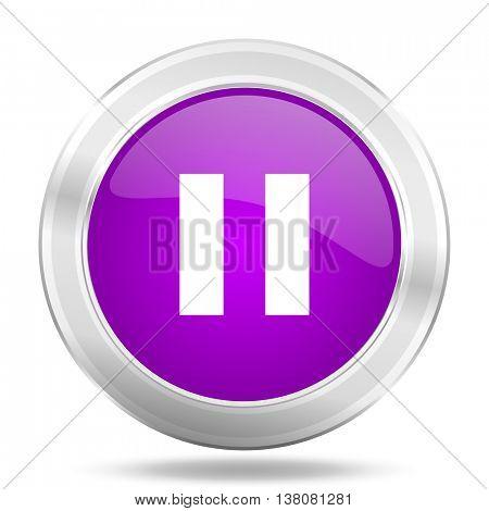 pause round glossy pink silver metallic icon, modern design web element