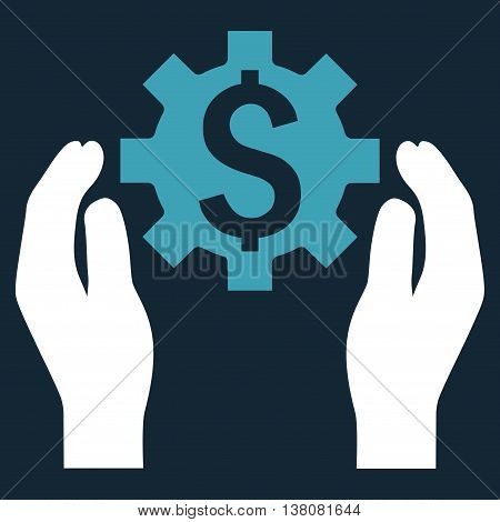 Financial Insurance Options vector icon. Style is bicolor flat symbol, blue and white colors, dark blue background.