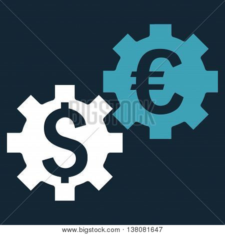 Financial Mechanics vector icon. Style is bicolor flat symbol, blue and white colors, dark blue background.