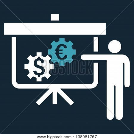 International Banking Project vector icon. Style is bicolor flat symbol, blue and white colors, dark blue background.